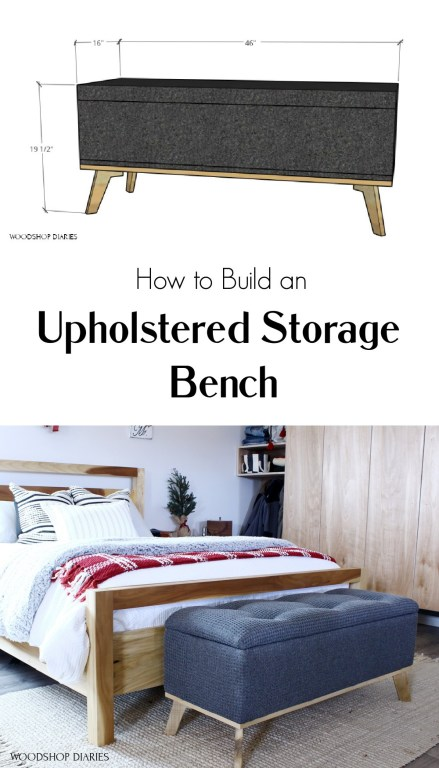 Pinterest collage of overall storage bench dimension diagram and finished bench placed at end of bed