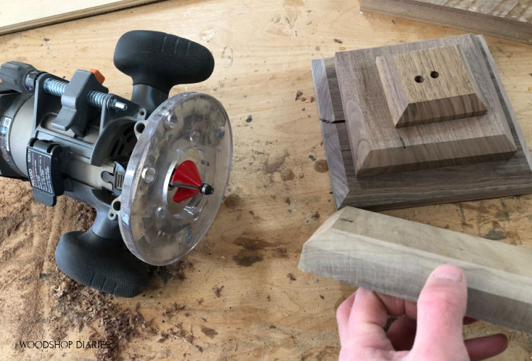 Edges of scrap wood lantern pieces chamfered