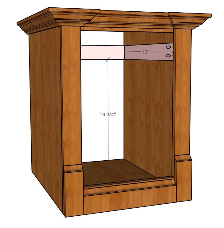 Drawer slide bracing for face frame cabinet diagram