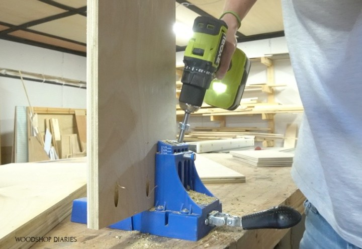 """drilling pocket holes into 3/4"""" plywood"""