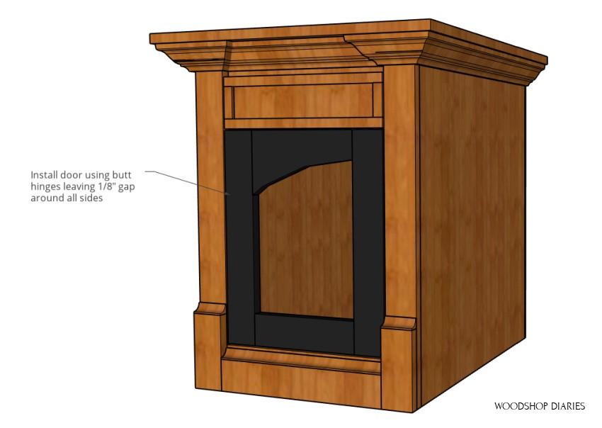 Add door using butt hinges--3D building plan diagram