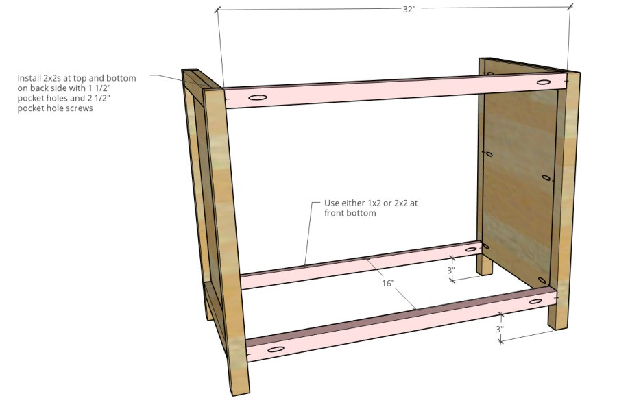 side stretcher supports installed between side panels to assemble cabinet