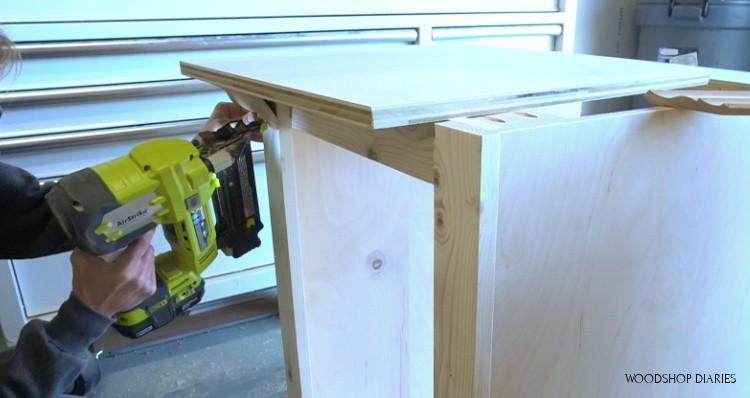 Attaching crown molding onto dog crate end table