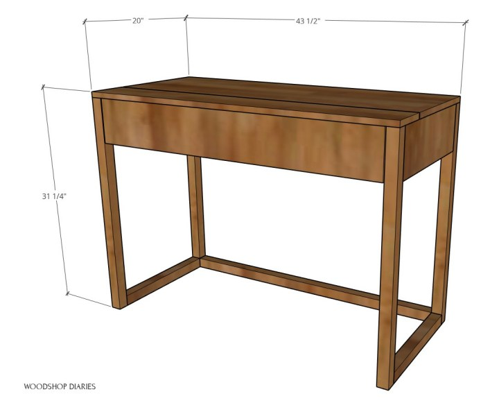 """Overall dimensions diagram of DIY keyboard stand--43 1/2"""" wide, 31 1/4"""" tall, 20"""" deep"""