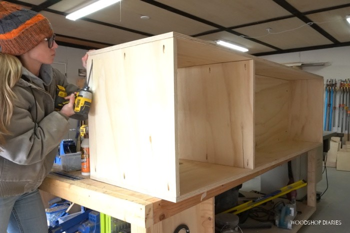 Assemble cabinet carcass with pocket holes and screws