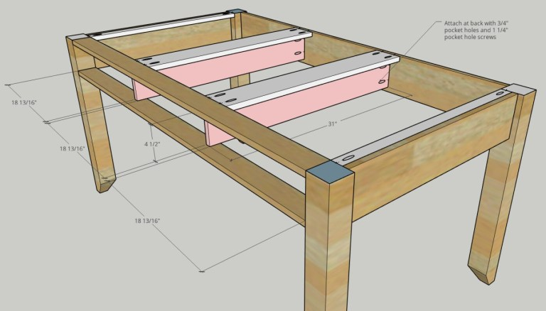 Middle drawer bracing supports installed into desk frame diagram