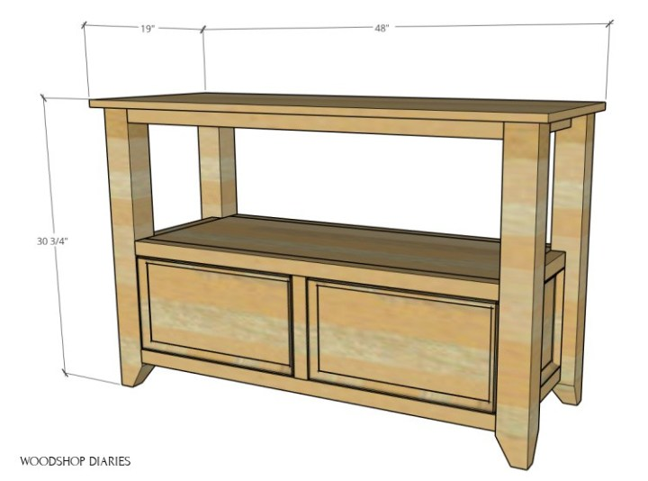"""Overall dimensions of DIY shelf with storage drawers--48"""" wide, 19"""" deep, 30 3/4"""" tall"""