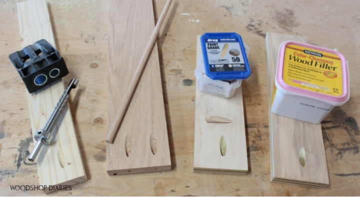 four boards with unfilled pocket holes laid out on workbench