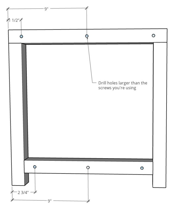 Diagram showing pilot hole locations on end table side frames
