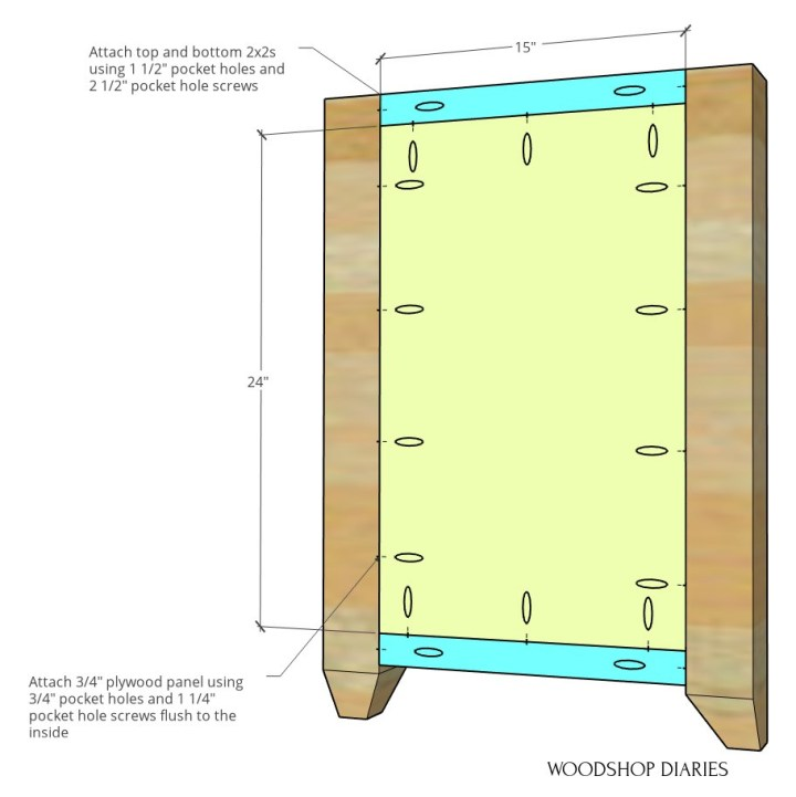 Computer desk side panel diagram with dimensions