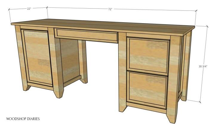 DIY Computer desk overall dimensional diagram
