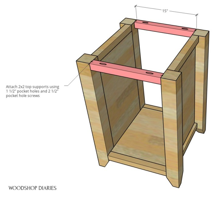 Diagram of computer desk cabinet top supports installed