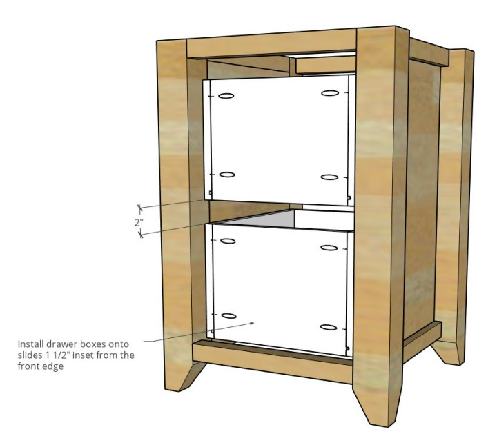 two identical drawer boxes installed into computer desk cabinet