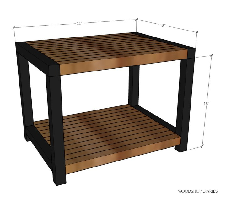 """Overall dimensional diagram of end table--18"""" tall, 18"""" deep, 24"""" wide"""