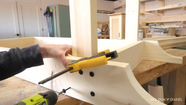 Using timber screws to attach grill cart frame together