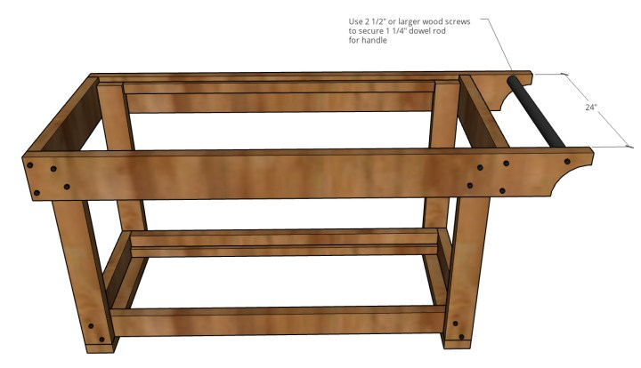 graphic showing dowel rod handle attached between grill cart frame