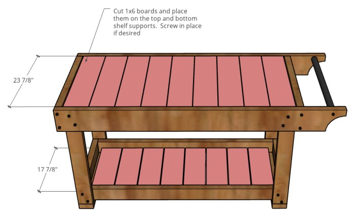 Graphic showing slats placed onto top and bottom tray of grill cart