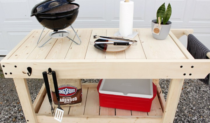 Close up of top of DIY grill cart with removeable slats