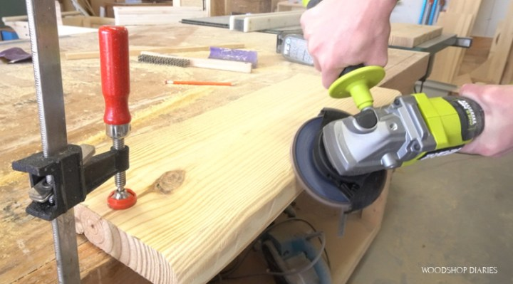 Using angle grinder to carve fake live edge onto pine board