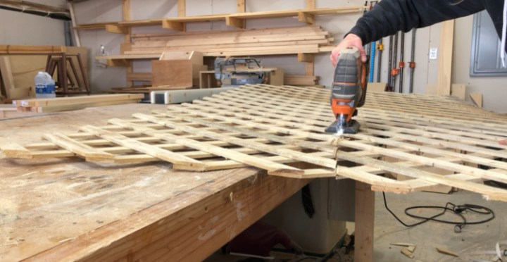 Using jig saw to cut lattice panels in half