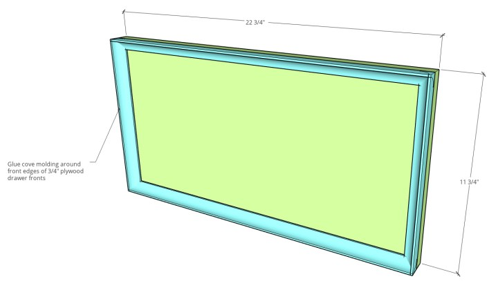Dimensional diagram of drawer fronts for DIY file cabinet