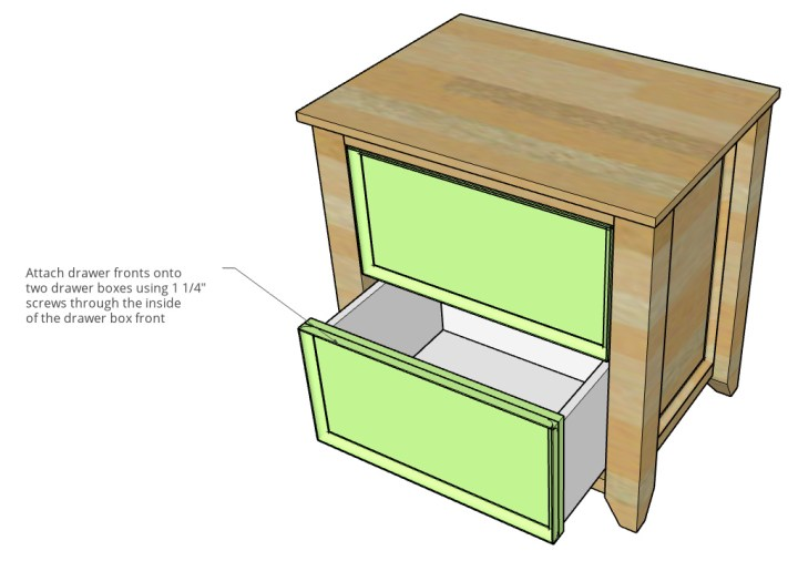 Diagram of drawer fronts attaching onto drawer boxes