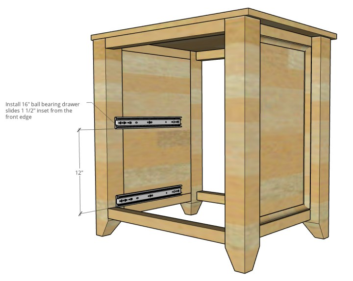 Diagram showing where to mount drawer slides into file cabinet carcass