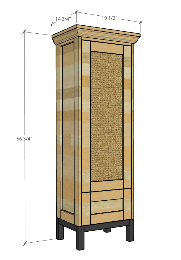 """Overall size of DIY tall pantry cabinet--19 1/2"""" wide, 14 3/4"""" deep, 56 3/4"""" tall."""