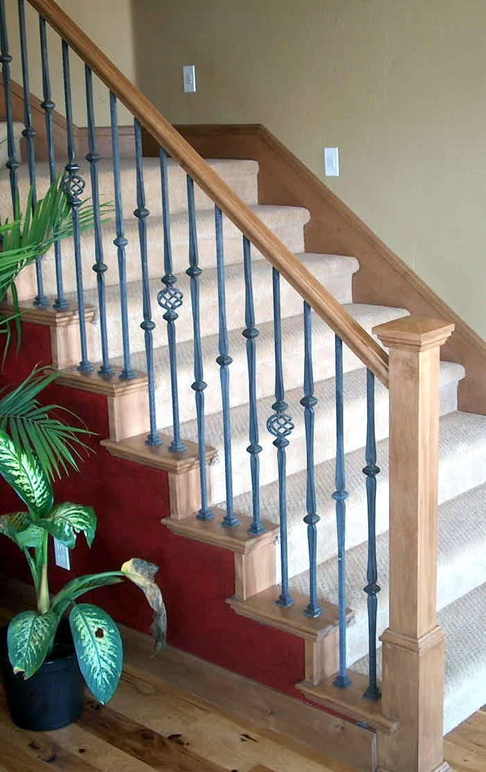 Add A Wood Handrail To Your Wrought Iron Balustrade Stair Makeover   Replacing Wrought Iron Stair Railing Outdoor   Stair Parts   Vinyl Railing   Stair Spindles   Wood Balusters   Cast Iron Balusters