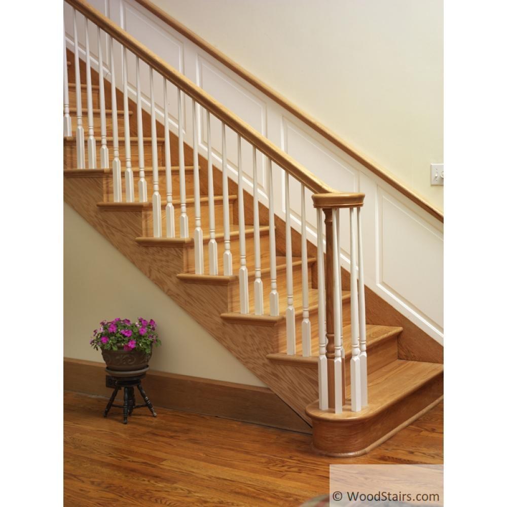 Wood Stairs6010 Handrail Wood Stair Hand Railing Lj 6010 Profile | Handrail To Newel Post | Fasten | Baluster | White Oak | Glass Balustrade | Landing