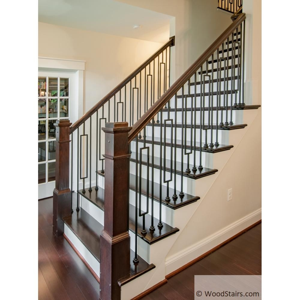 Wood Stairs6210 Handrail Wood Stairs Hand Railing Lj 6210 Profile   White Banister With Iron Spindles   Foyer   Remodel   Basement   Stair Heavy   Madison