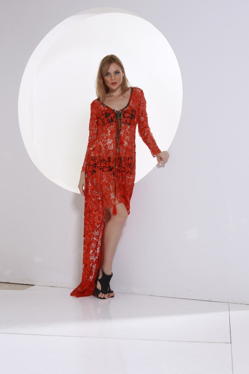 guipure red dress