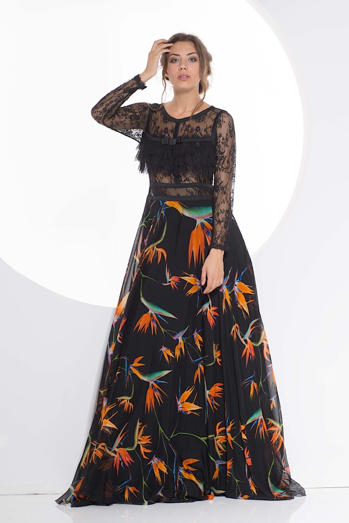 Silk Long dress with lace