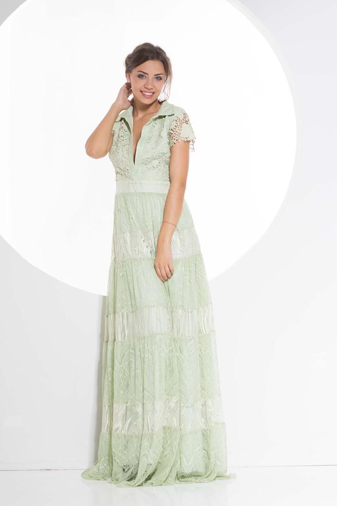 Green long lace dress