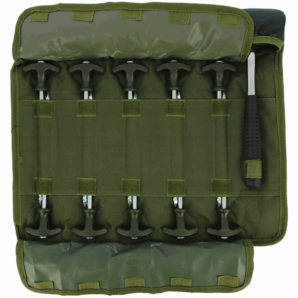 "NGT Bivvy Peg Set - 10 x 8"" Bivvy Pegs and Mallet in Roll Up Case"