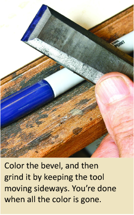 Sharpen your wood turning tools more efficiently by coloring the area to be ground.