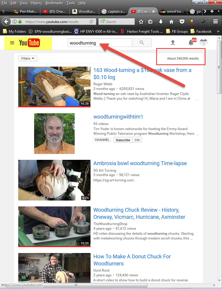Search Youtube for Woodturning