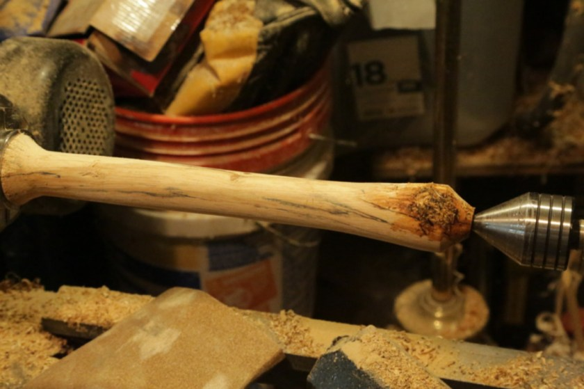 turned a lathe handle for more leverage