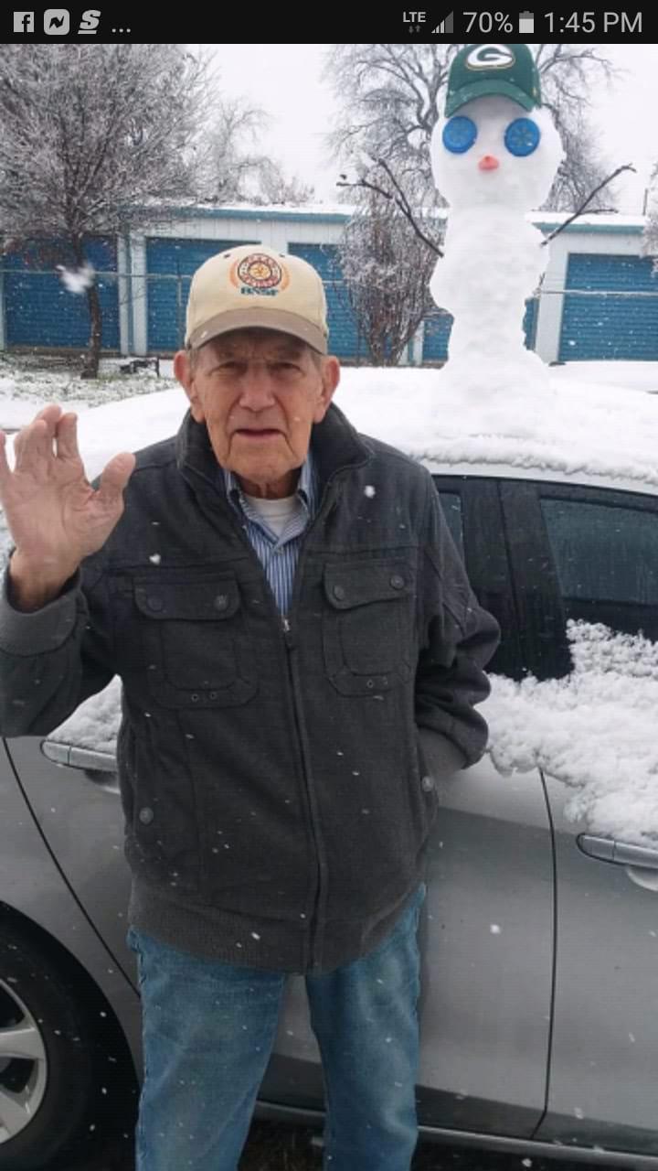 91-year old builds snowman Iowa Park Texas 1 3 19 by Mark White_1546576841963.jpg.jpg