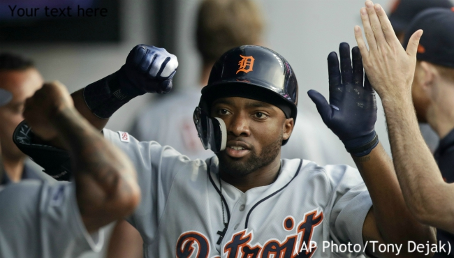 Detroit Tigers' Christin Stewart is congratulated by teammates after hitting a home run in the fifth inning of the team's baseball game against the Cleveland Indians, Friday, June 21, 2019, in Cleveland. (AP Photo/Tony Dejak)