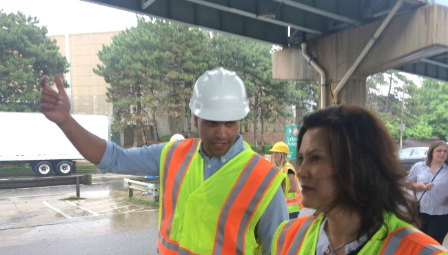 Governor Gretchen Whitmer tours US-131 Bridge Street overpass in Grand Rapids