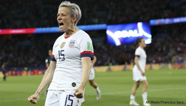 US Women's Soccer Megan Rapinoe celebrates win