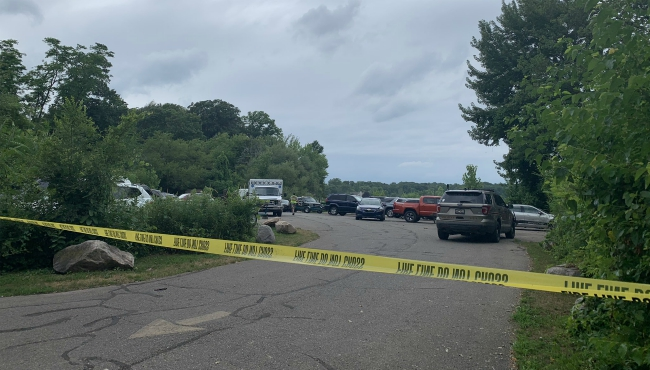 A photo of authorities searching for missing man at Green Lake in Allegan County. (July 20, 2019)