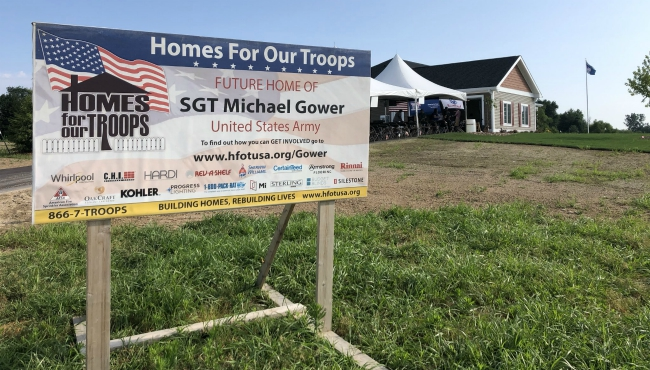 A photo outside of Michael Gower's home that was donated by Homes For Our Troops. (July 13, 2019)