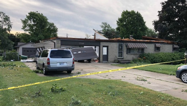 A roof ripped off a home in Jenison during Saturday's early morning storm. (July 20, 2019)