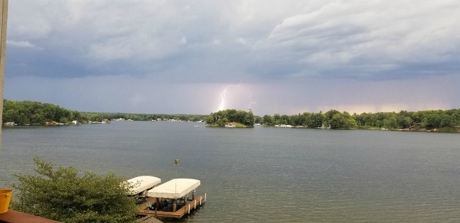 Lightning strikes near Lake Mecosta in Morton Township. Courtesy of Derek Damstra.