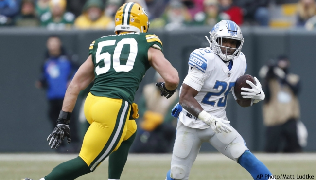 In a Sunday, Dec. 30, 2018 file photo, Detroit Lions' Theo Riddick runs during the first half of an NFL football game against the Green Bay Packers, in Green Bay, Wis. The Detroit Lions have released running back Theo Riddick after six seasons with the team. Coach Matt Patricia announced the move Saturday, July 27, 2019 while confirming the signing of defensive lineman Mike Daniels. (AP Photo/Matt Ludtke, File)