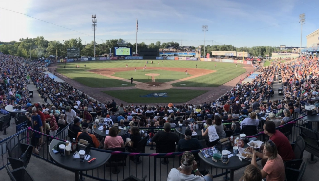 A photo of the crowd of the West Michigan Whitecaps game on July 13, 2019,
