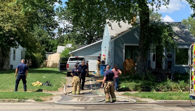 A photo of a house fire on 32nd Street SW, east of Clyde Park Avenue in Wyoming. (July 11, 2019)