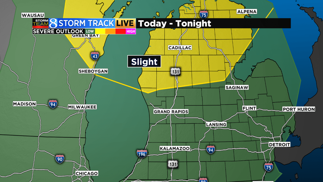 Michigan map showing slight risk of severe weather in Muskegon County northward